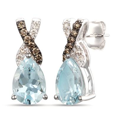14K Vanilla Gold® Sea Blue Aquamarine® 3 cts. Earrings with Chocolate Diamonds® 1/6 cts., Nude Diamonds™ 1/10 cts. | TRQF 40