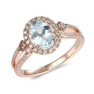 14K Strawberry Gold® Sea Blue Aquamarine® 1 cts. Ring with Chocolate Diamonds® 1/10 cts., Nude Diamonds™ 1/3 cts. | TRQF 5