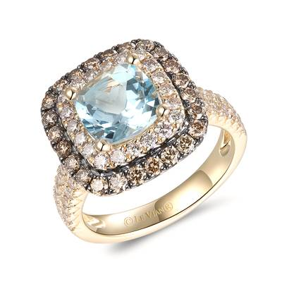 14K Honey Gold™ Sea Blue Aquamarine® 1  7/8 cts. Ring with Nude Diamonds™ 3/4 cts., Chocolate Diamonds® 5/8 cts. | TRQF 6
