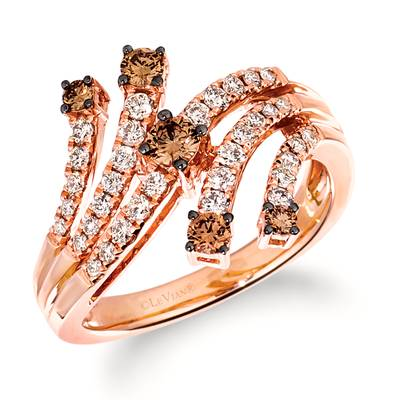 14K Strawberry Gold® Ring with Chocolate Diamonds® 1/3 cts., Nude Diamonds™ 3/8 cts. | TRQF 7