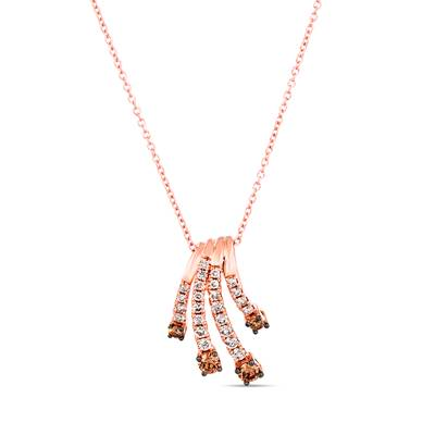 14K Strawberry Gold® Pendant with Chocolate Diamonds® 1/4 cts., Nude Diamonds™ 1/3 cts. | TRQF 9