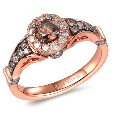 14K Strawberry Gold® Ring with Chocolate Diamonds® 3/4 cts., Nude Diamonds™ 1/5 cts. | TRQX 2