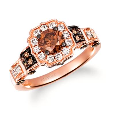 14K Strawberry Gold® Ring with Chocolate Diamonds® 1 cts., Nude Diamonds™ 1/4 cts. | TRQX 4