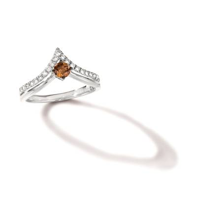 14K Vanilla Gold® Ring with Chocolate Diamonds® 1/4 cts., Nude Diamonds™ 1/4 cts. | TRRB 37