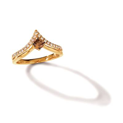14K Honey Gold™ Ring with Chocolate Diamonds® 1/4 cts., Nude Diamonds™ 1/4 cts. | TRRB 38