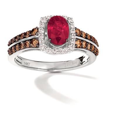 14K Vanilla Gold® Passion Ruby™ 3/4 cts. Ring with Chocolate Diamonds® 3/8 cts., Vanilla Diamonds® 1/8 cts. | TRRB 44