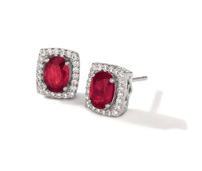 14K Vanilla Gold® Passion Ruby™ 1 cts. Earrings with Vanilla Diamonds® 1/6 cts. | TRRB 45