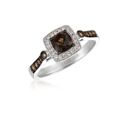 14K Vanilla Gold® Chocolate Quartz® 1/2 cts. Ring with Chocolate Diamonds® 1/6 cts., Vanilla Diamonds® 1/10 cts. | TRRB 46