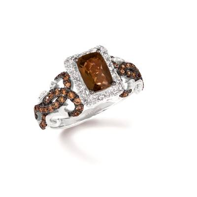 14K Vanilla Gold® Chocolate Quartz® 7/8 cts. Ring with Chocolate Diamonds® 1/2 cts., Vanilla Diamonds® 1/6 cts. | TRRB 47