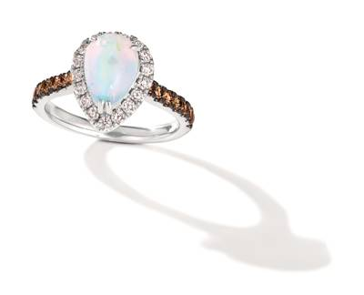 14K Vanilla Gold® Neopolitan Opal™ 7/8 cts. Ring with Chocolate Diamonds® 1/3 cts., Nude Diamonds 1/3 cts. | TRRB 51