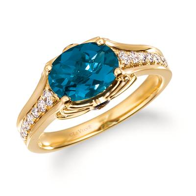 14K Honey Gold™ Deep Sea Blue Topaz™ 1  3/4 cts. Ring with Nude Diamonds 1/4 cts., Chocolate Diamonds®  cts. | TRRB 79