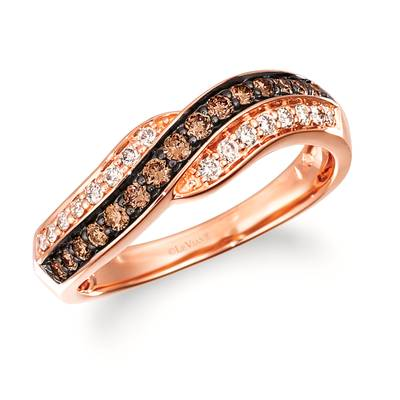 14K Strawberry Gold® Ring with Chocolate Diamonds® 1/4 cts., Nude Diamonds 1/6 cts. | TRRB 82