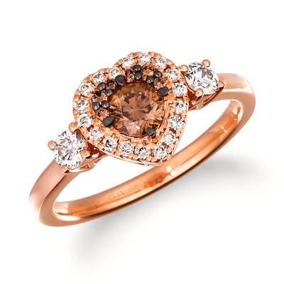 14K Strawberry Gold® Ring with Chocolate Diamonds® 1/3 cts., Nude Diamonds™ 1/3 cts. | TRRM 4