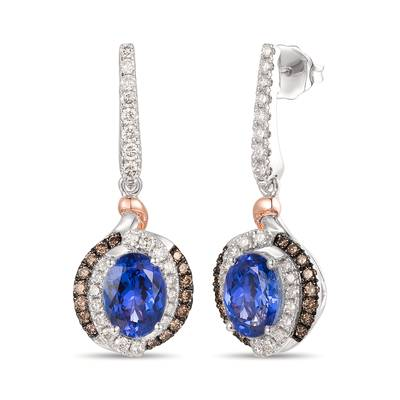 14K Vanilla Gold® Blueberry Tanzanite® 2 cts. Earrings with Nude Diamonds™ 5/8 cts., Chocolate Diamonds® 1/4 cts. | TRRN 32D