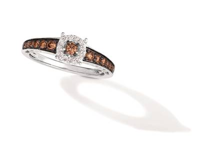 14K Vanilla Gold® Ring with Chocolate Diamonds® 3/8 cts., Vanilla Diamonds® 1/15 cts. | TRRO 75