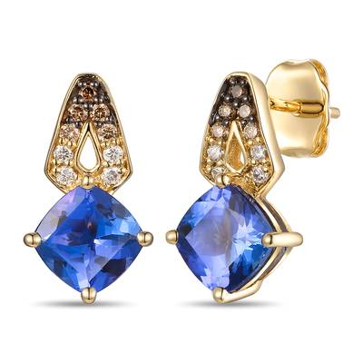 14K Honey Gold™ Blueberry Tanzanite® 1  7/8 cts. Earrings with Chocolate Ombré Diamonds® 1/8 cts. | TRRR 17D