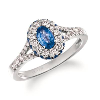 14K Vanilla Gold® Blueberry Sapphire™ 1 cts. Ring with Nude Diamonds™ 3/8 cts. | TRSE 45