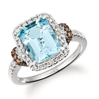 14K Vanilla Gold® Sea Blue Aquamarine® 2  1/2 cts. Ring with Chocolate Diamonds® 1/5 cts., Nude Diamonds 3/8 cts. | TRSE 46