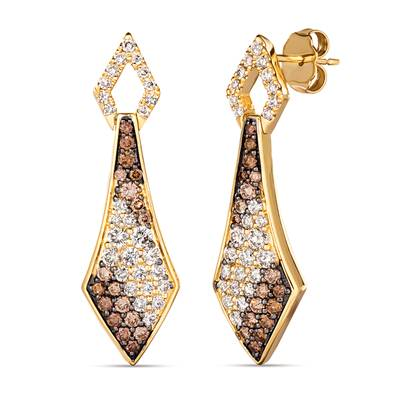 14K Honey Gold™ Earrings with Ombre Diamonds 1  1/8 cts., Vanilla Diamonds® 1/4 cts. | TRSE 5