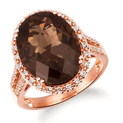 14K Strawberry Gold® Chocolate Quartz® 8  3/4 cts. Ring with Nude Diamonds 1/2 cts. | TRSE 54