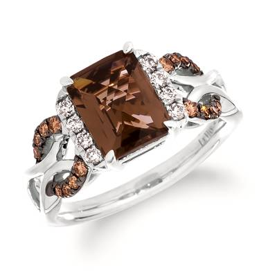 14K Vanilla Gold® Chocolate Quartz® 2 cts. Ring with Chocolate Diamonds® 1/5 cts., Nude Diamonds 1/8 cts. | TRSE 57