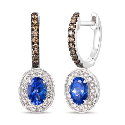 14K Vanilla Gold® Blueberry Tanzanite® 1 cts. Earrings with Chocolate Diamonds® 1/5 cts., Nude Diamonds™ 1/4 cts. | TRSV 3A