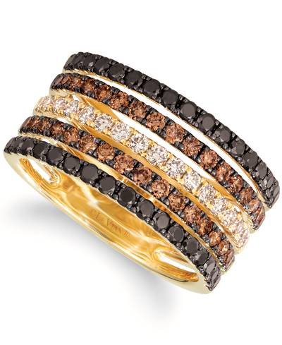 14K Honey Gold™ Ring with Blackberry Diamonds® 5/8 cts., Nude Diamonds™ 1/3 cts., Chocolate Diamonds® 5/8 cts. | TRVL 20