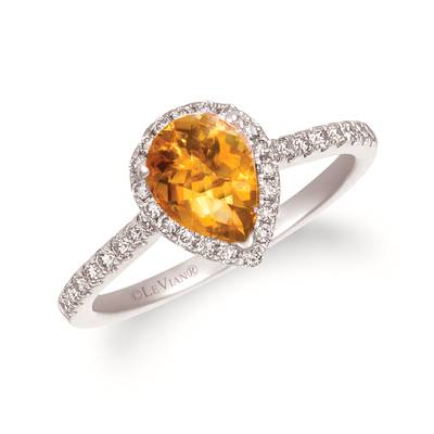 14K Vanilla Gold® Cinnamon Citrine® 7/8 cts. Ring with Nude Diamonds™ 1/3 cts. | TRWP 4CTWG