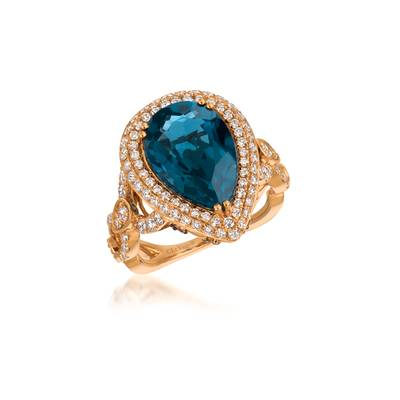18K Strawberry Gold® Deep Sea Blue Topaz™ 6  1/2 cts. Ring with Vanilla Diamonds® 1  1/5 cts., Chocolate Diamonds® 1/6 cts. | VIMK 1226