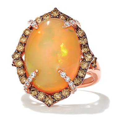 18K Strawberry Gold® Neopolitan Opal™ 9  1/3 cts. Ring with Chocolate Diamonds® 7/8 cts., Vanilla Diamonds® 1/3 cts. | VIMK 1538