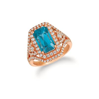 18K Strawberry Gold® Blueberry Zircon™ 8 cts. Ring with Vanilla Diamonds® 7/8 cts., Chocolate Diamonds®  cts. | VIMK 2159