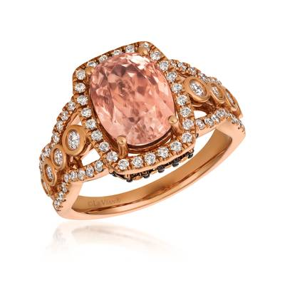 18K Strawberry Gold® Peach Morganite™ 2  1/6 cts. Ring with Nude Diamonds™ 5/8 cts., Chocolate Diamonds® 1/5 cts. | VIMK 2196