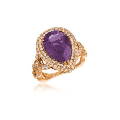 18K Strawberry Gold® Dark Amethyst 4  3/4 cts. Ring with Vanilla Diamonds® 1  1/5 cts., Chocolate Diamonds® 1/6 cts. | VIMK 2282