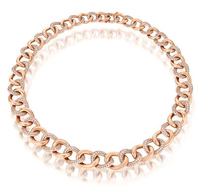 18K Strawberry Gold® Necklace with Vanilla Diamonds® 17 cts. | VIMK 322