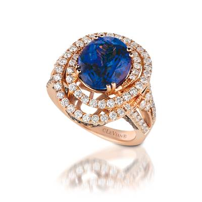 18K Strawberry Gold® Blueberry Tanzanite® 4  1/2 cts. Ring with Vanilla Diamonds® 1  3/8 cts., Chocolate Diamonds® 3/8 cts. | VIMK 444R