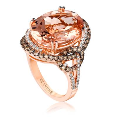 18K Strawberry Gold® Peach Morganite™ 6  1/2 cts. Ring with Chocolate Diamonds® 5/8 cts., Vanilla Diamonds® 1/4 cts. | VIMK 603