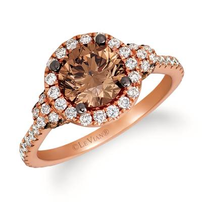 18K Strawberry Gold® Ring with Chocolate Diamonds® 1  3/4 cts., Vanilla Diamonds® 1/2 cts. | VIMK 907RG