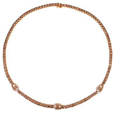 18K Strawberry Gold® Necklace with Chocolate Diamonds® 26 1/2 cts., Vanilla Diamonds® 3/4 cts. | VIMK 917