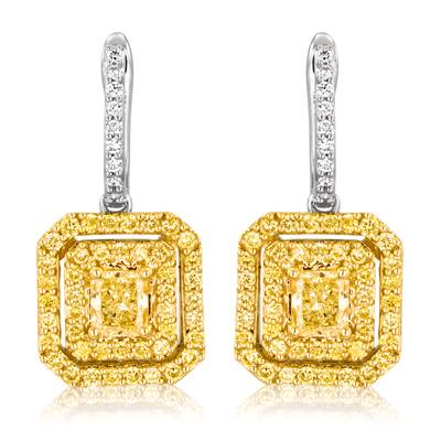 18K Two Tone Gold Earrings with Fancy Natural Yellow Diamonds 1 cts., Chocolate Diamonds®  cts., Yellow Diamonds 7/8 cts., Vanilla Diamonds® 1/8 cts. | VISH 422