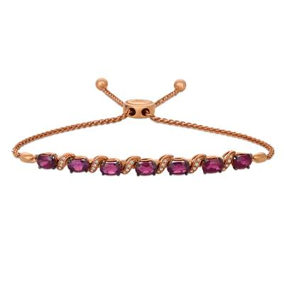 14K Strawberry Gold® Raspberry Rhodolite® 3 cts. Bolo Bracelet with Vanilla Diamonds® 1/10 cts. | WASS 13RH