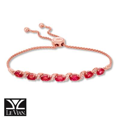 14K Strawberry Gold® Passion Ruby™ 3  1/2 cts. Bolo Bracelet with Vanilla Diamonds® 1/10 cts. | WASS 13RU