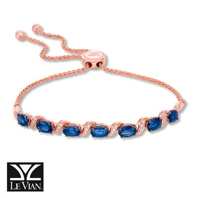 14K Strawberry Gold® Blueberry Sapphire™ 3  1/2 cts. Bolo Bracelet with Vanilla Diamonds® 1/10 cts. | WASS 13SA