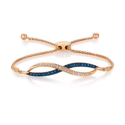 14K Strawberry Gold® Blueberry Sapphire™ 3/8 cts. Bolo Bracelet with Vanilla Diamonds® 1/6 cts. | WASU 57