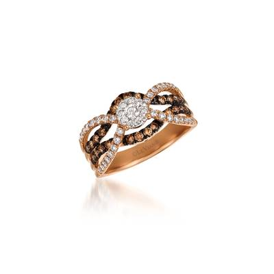 14K Two Tone Gold Ring with Vanilla Diamonds® 3/8 cts., Chocolate Diamonds® 1/3 cts. | WASY 20-070