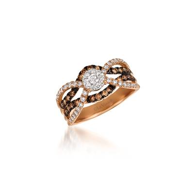 14K Two Tone Gold Ring with Vanilla Diamonds® 3/8 cts., Chocolate Diamonds® 1/3 cts. | WASY 20