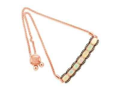 14K Strawberry Gold® Neopolitan Opal™ 1 cts. Bolo Bracelet with Chocolate Diamonds® 3/8 cts. | WASY 25