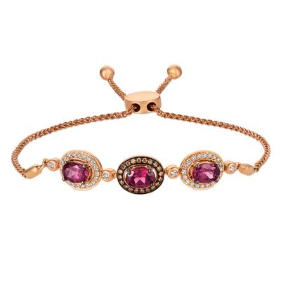 14K Strawberry Gold® Raspberry Rhodolite® 2  3/8 cts. Bolo Bracelet with Vanilla Diamonds® 1/3 cts., Chocolate Diamonds® 1/8 cts. | WASY 30