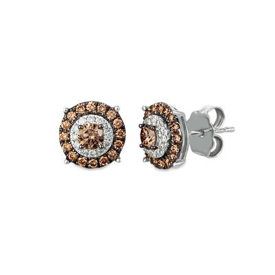 14K Vanilla Gold® Earrings with Chocolate Diamonds® 1/2 cts., Vanilla Diamonds® 1/15 cts. | WASY 49