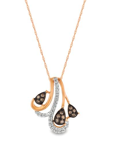 14K Strawberry Gold® Pendant with Chocolate Diamonds® 1/10 cts., Vanilla Diamonds® 1/15 cts. | WATA 19