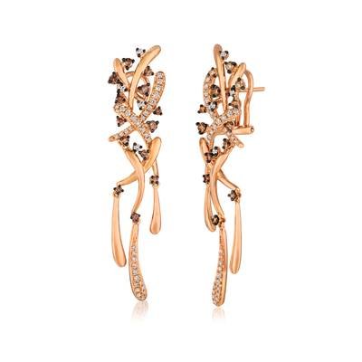 14K Strawberry Gold® Earrings with Chocolate Diamonds® 3/8 cts., Vanilla Diamonds® 3/8 cts. | WATA 25